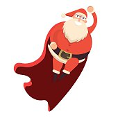 Santa Claus flying like superhero in red cape waving behind