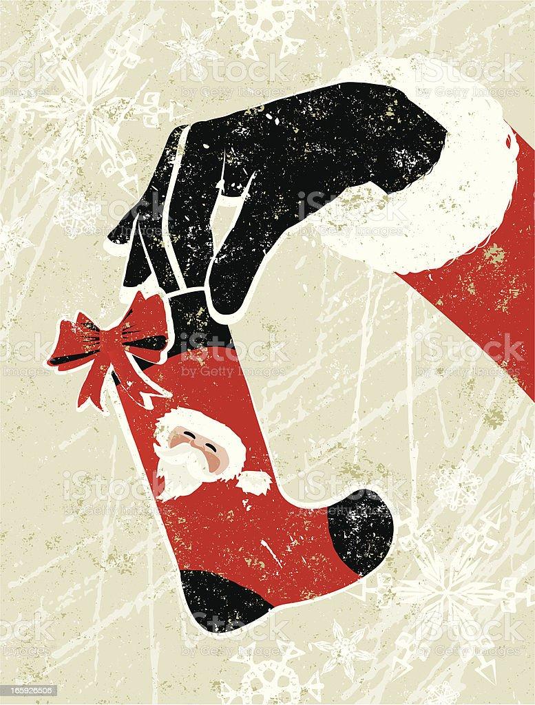Santa Claus Hand Holding a Small Christmas Stocking royalty-free stock vector art