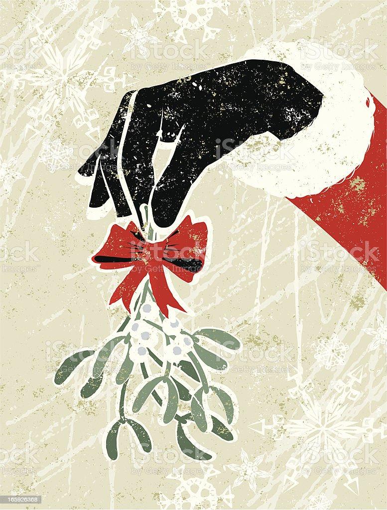 Santa Claus Hand Holding a Sprig of Mistletoe vector art illustration