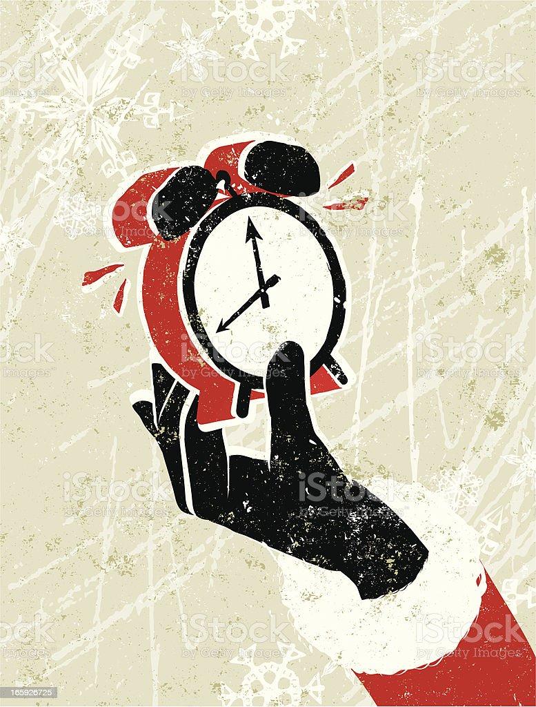 Santa Claus Hand Holding an Alarm Clock royalty-free stock vector art