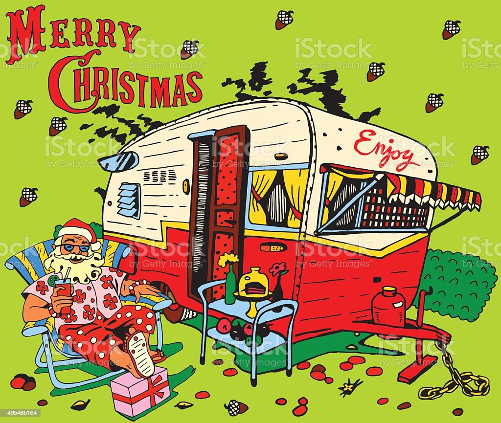 Santa Claus has a rest.Caravan Christmas. vector art illustration