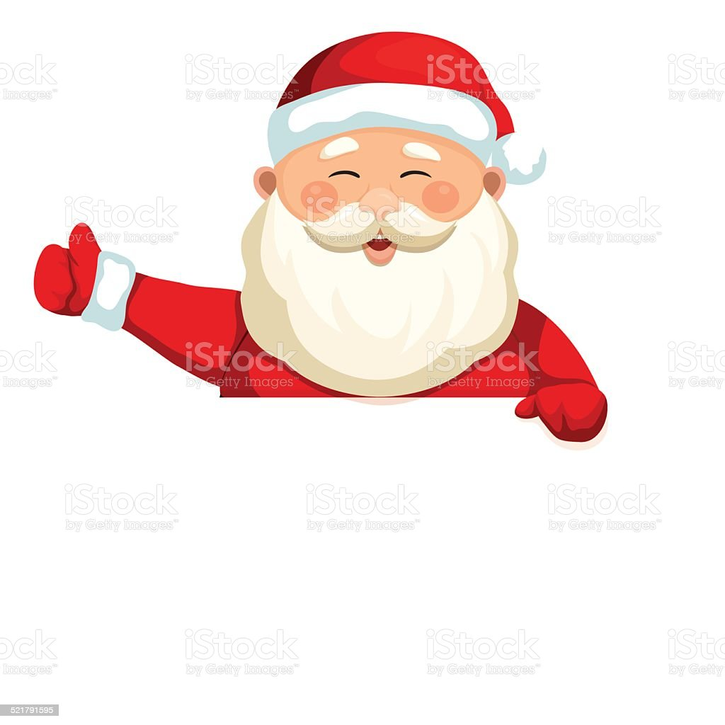 Santa Claus holding a blank sign 3 vector art illustration