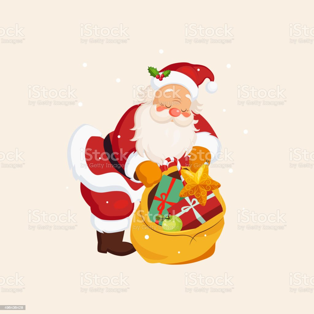 Santa Claus holding a Sack with Toys. Vector Illustration vector art illustration