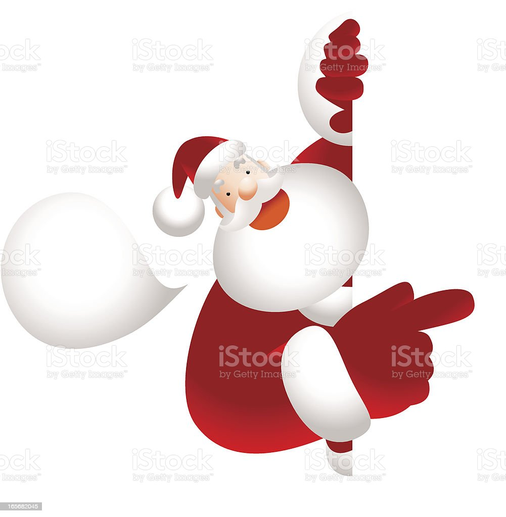 Santa Claus holding blank sign showing something by index finger vector art illustration