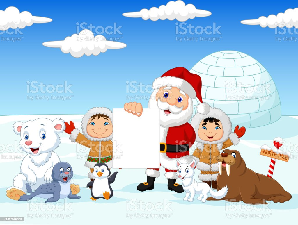Santa Claus holding blank sign with friends vector art illustration
