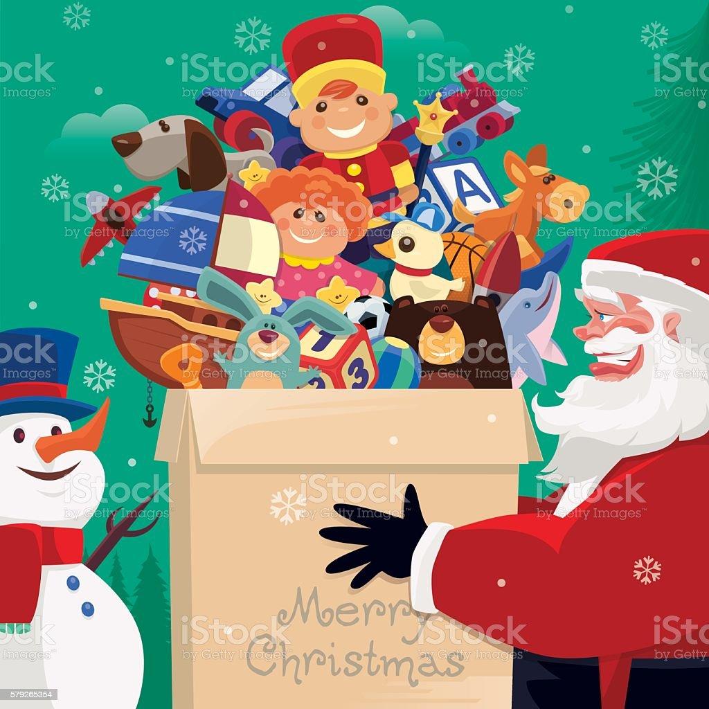 santa claus holding carton of toys vector art illustration