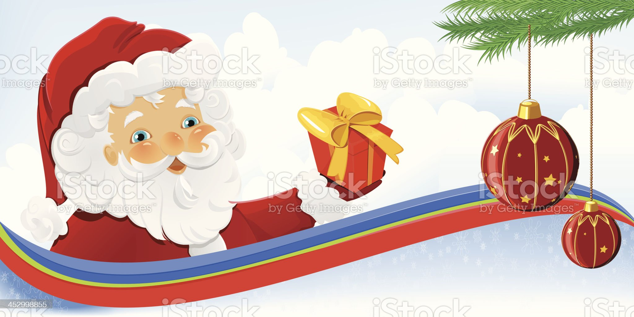 Santa Claus holding Christmas gift royalty-free stock vector art