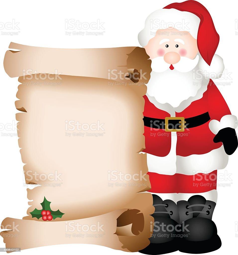 Santa Claus holding Christmas parchment vector art illustration