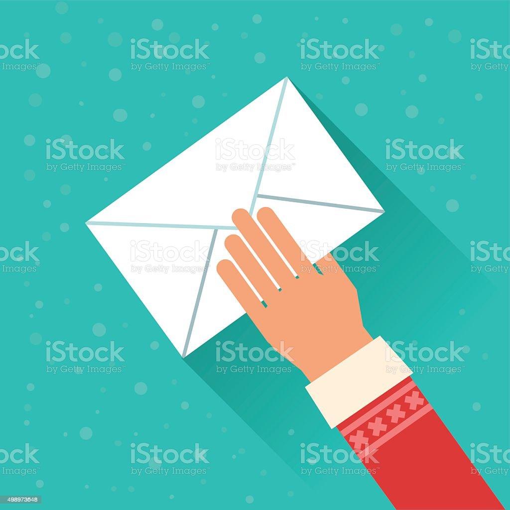 Santa Claus holding envelope with letter vector art illustration