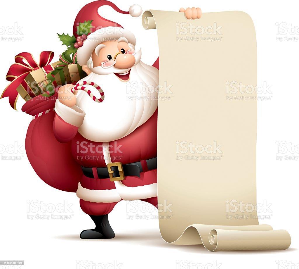 Santa Claus holding paper scroll vector art illustration