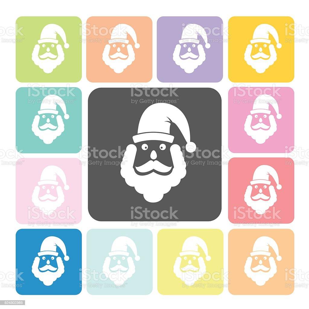 Santa claus Icon color set vector illustration vector art illustration