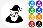 Santa Claus Icon on Flat Color Circle Buttons