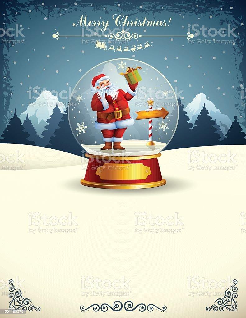 Santa Claus in a snow globe vector art illustration