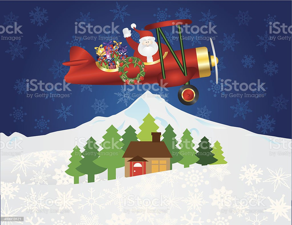 Santa Claus in Biplane with Presents Night Snow Scene Illustration vector art illustration