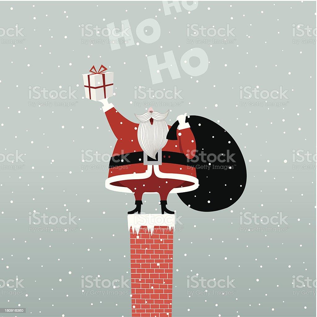 Santa Claus In Chimney retro gift present illustration vector myillo royalty-free stock vector art
