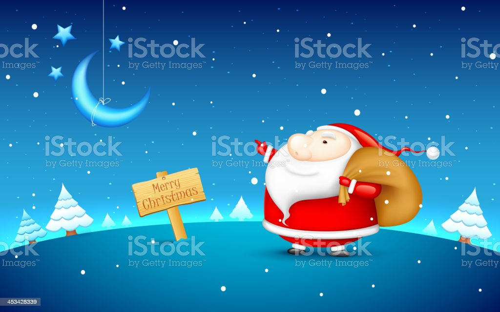 Santa Claus in Christmas night royalty-free stock vector art