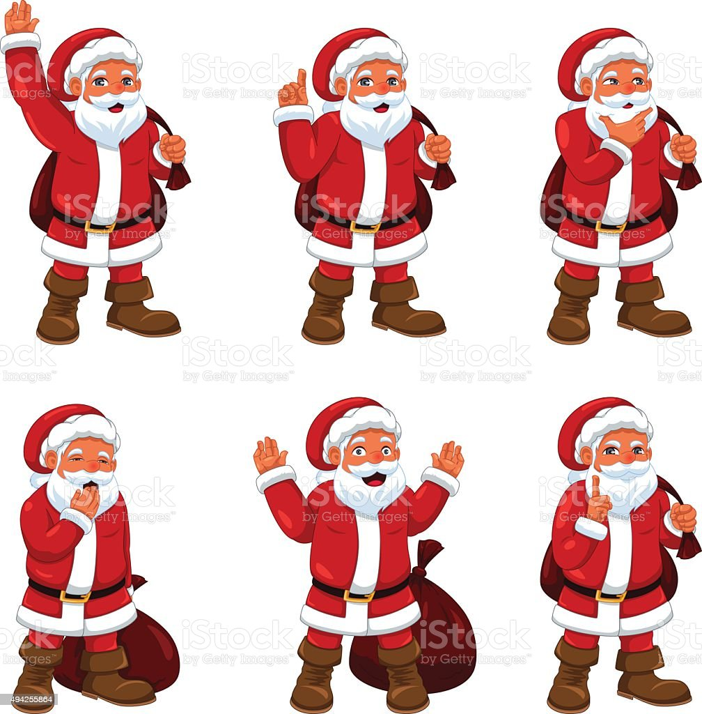 Santa Claus in Different Expressions vector art illustration