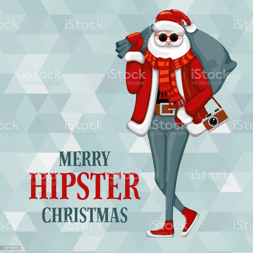 Santa Claus in hipster style vector art illustration