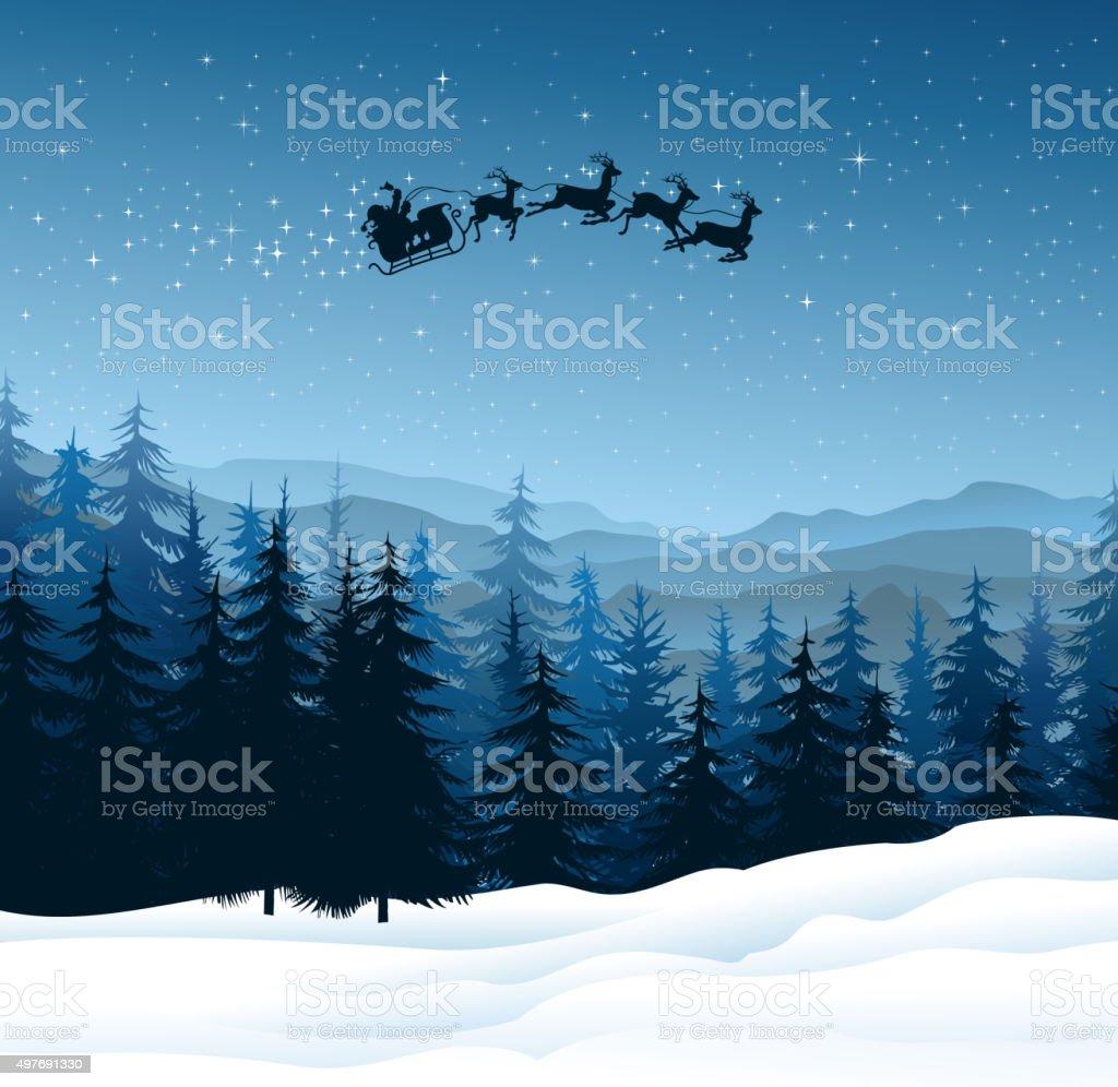 santa claus in night vector art illustration