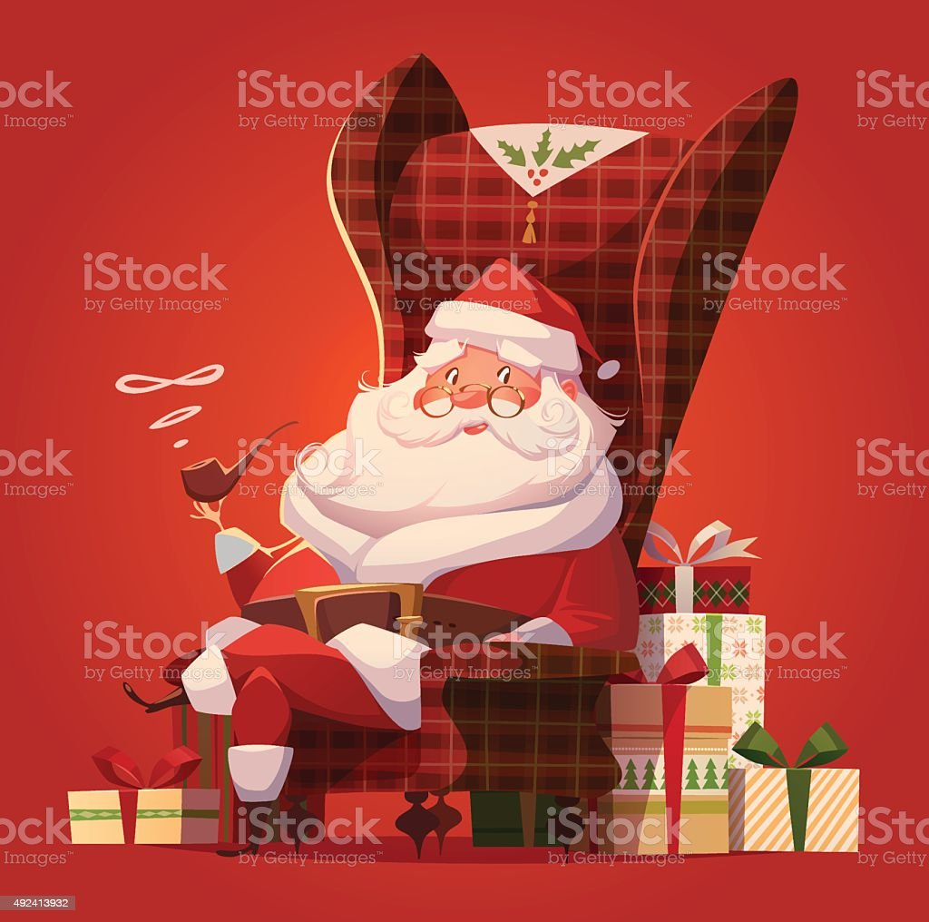 Santa Claus in the chair and a lot of gifts. vector art illustration
