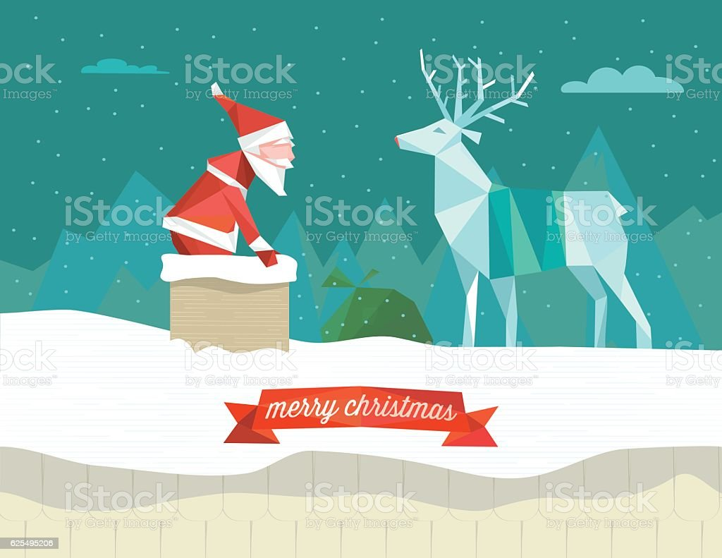 santa claus in the smoke stack with reindeer on roof vector art illustration