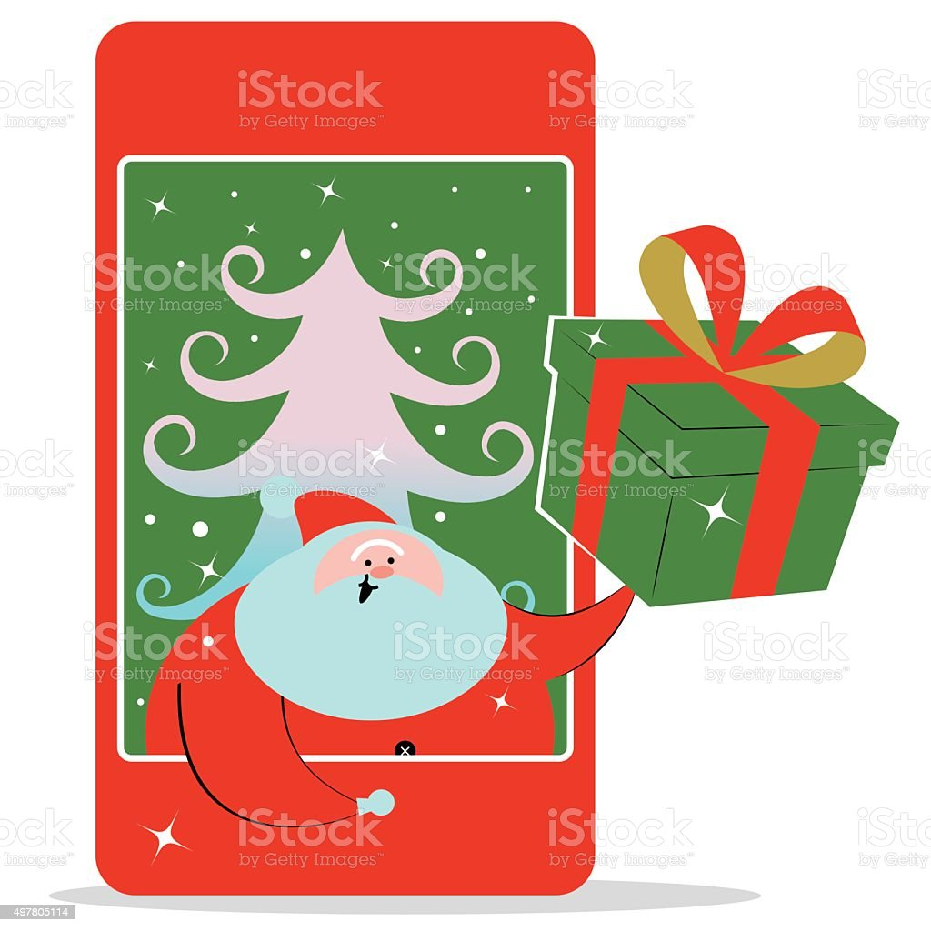 Santa Claus inside of mobile phone, outstretched hand, Christmas Gift vector art illustration