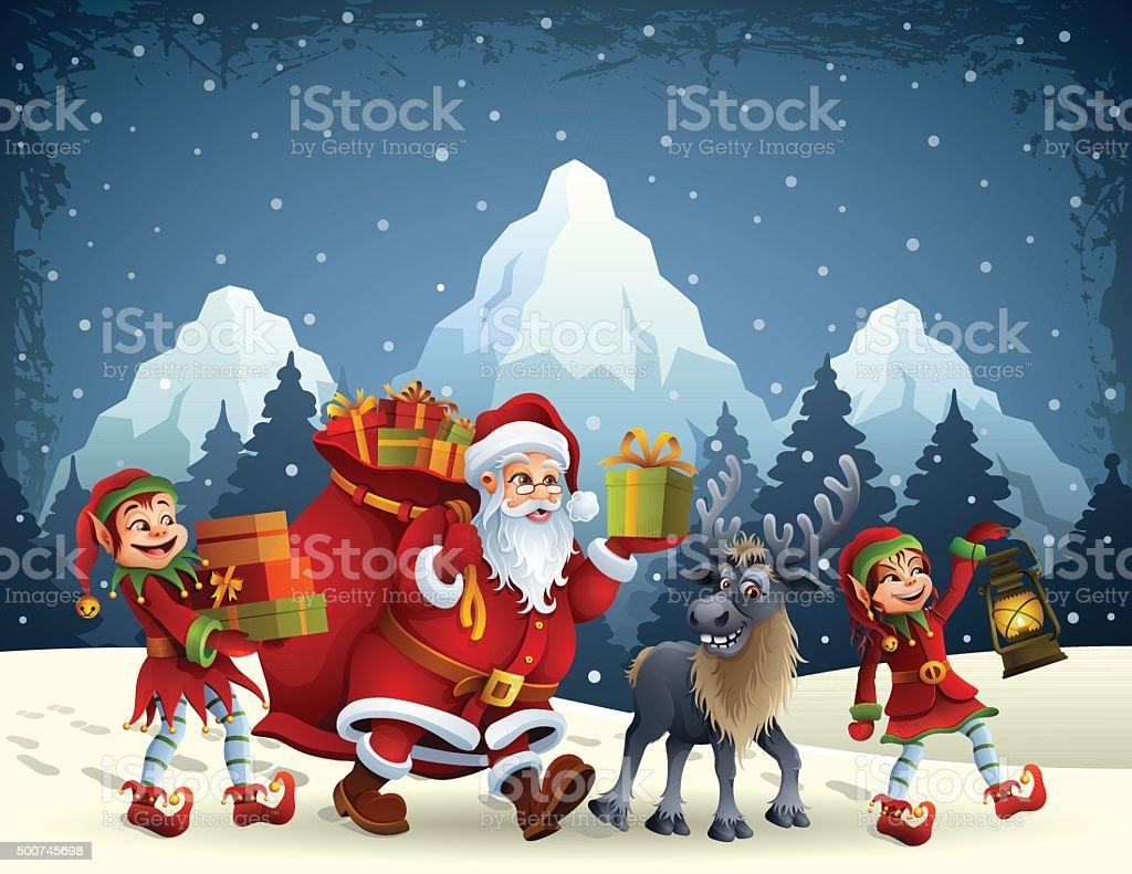 Santa Claus is coming vector art illustration
