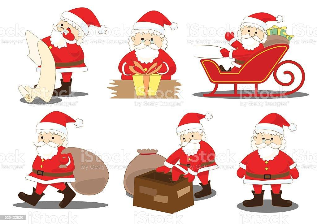 santa claus job activities and duties process vector art illustration