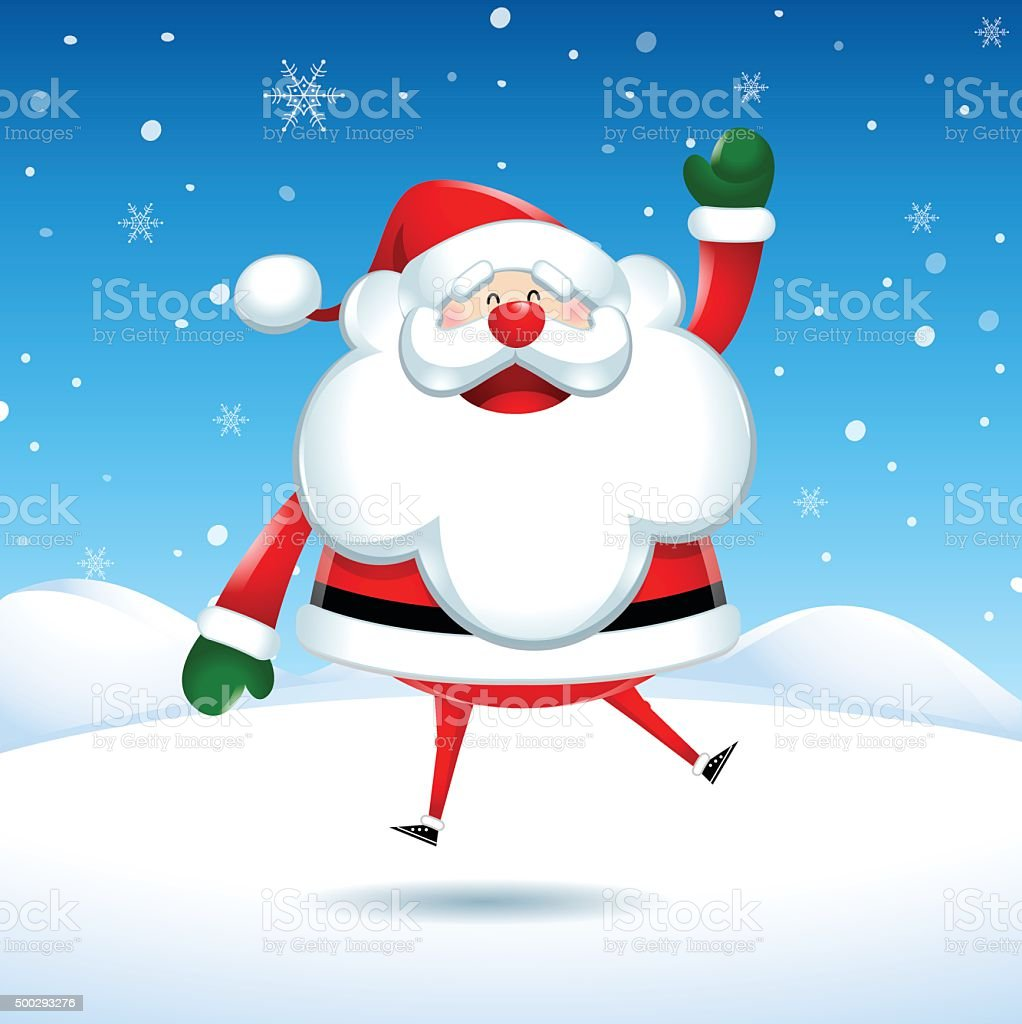 Santa Claus jumps of happiness in Christmas vector art illustration