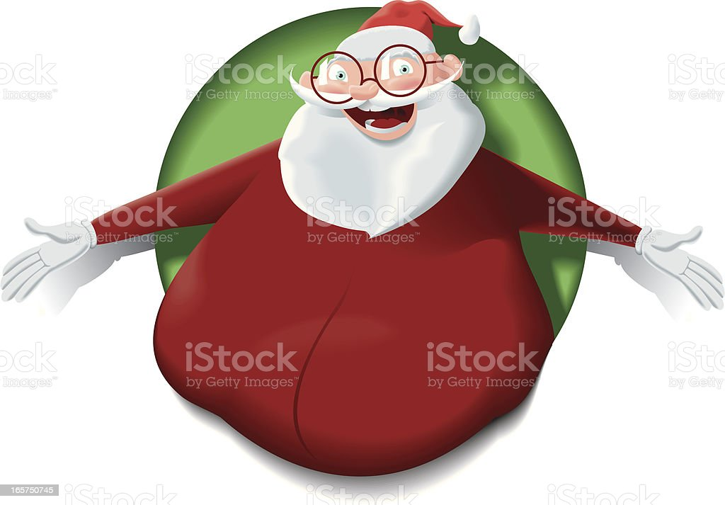 Santa Claus lean out the hole royalty-free stock vector art