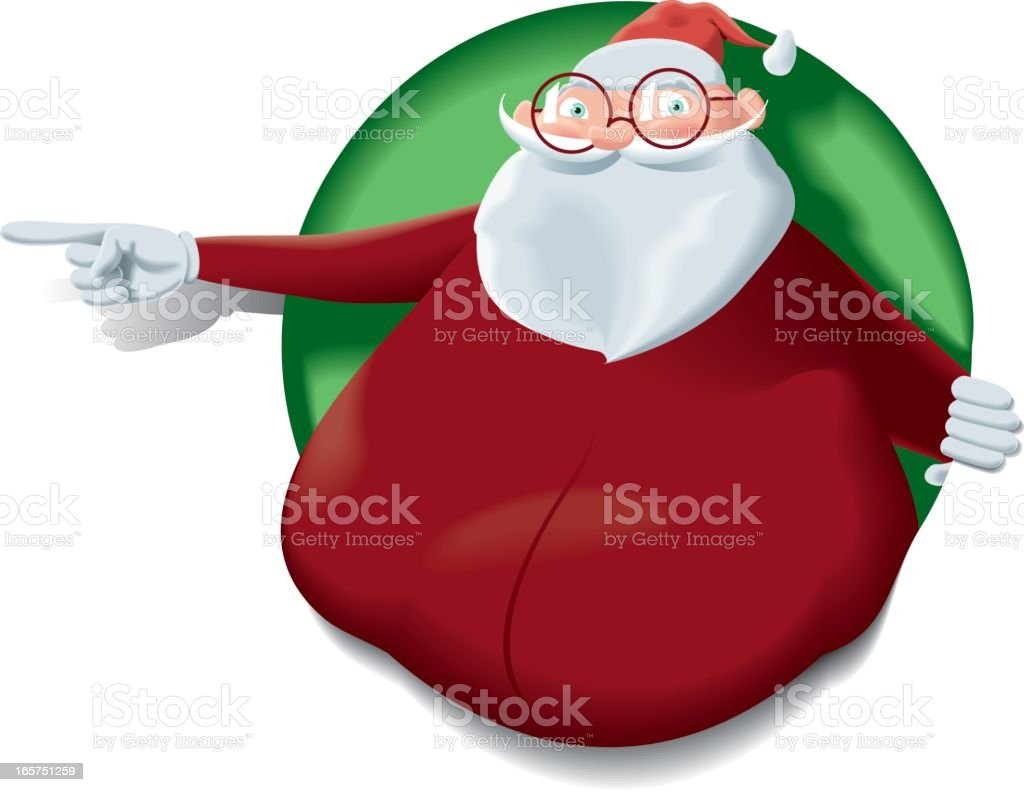 Santa Claus lean up the hole pointing side royalty-free stock vector art