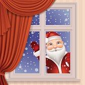 Santa Claus looking through window