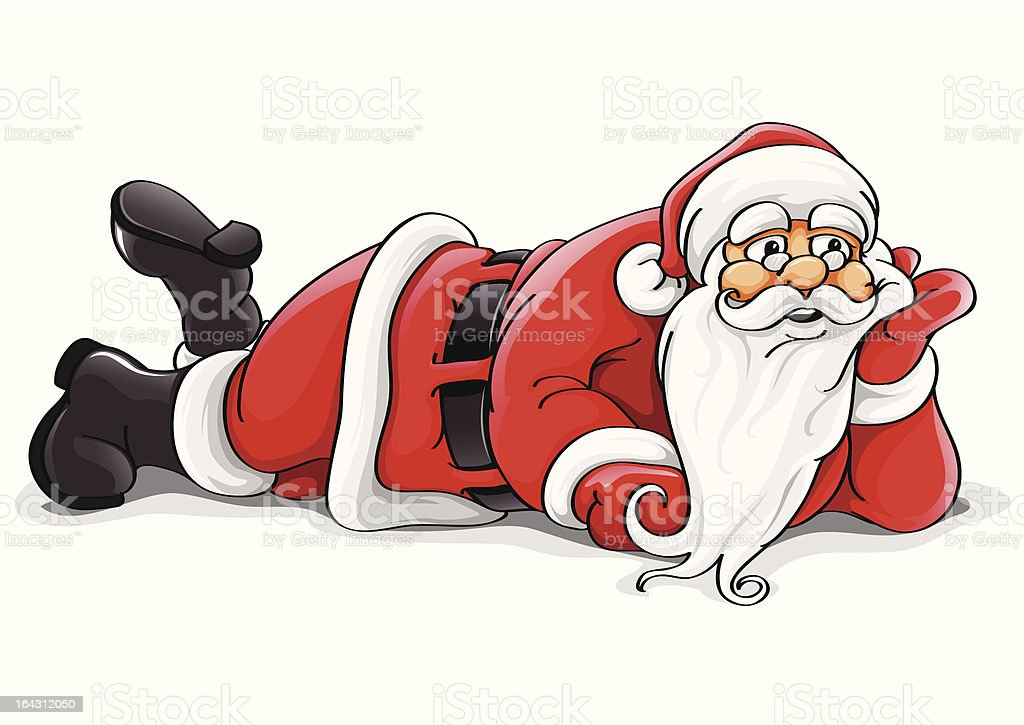 Santa Claus lying Christmas vector illustration royalty-free stock vector art