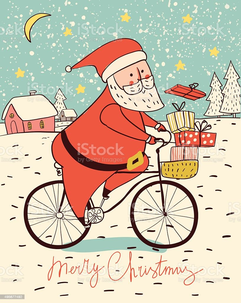 Santa Claus on a bike with gifts. Christmas card. royalty-free stock vector art