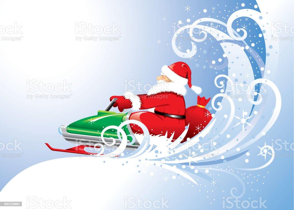 Santa Claus on a snowmobile vector art illustration
