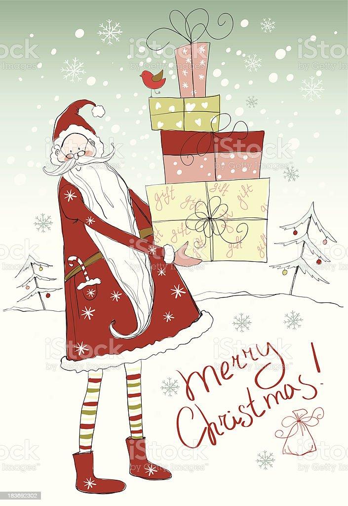 Santa Claus on Christmas card. royalty-free stock vector art