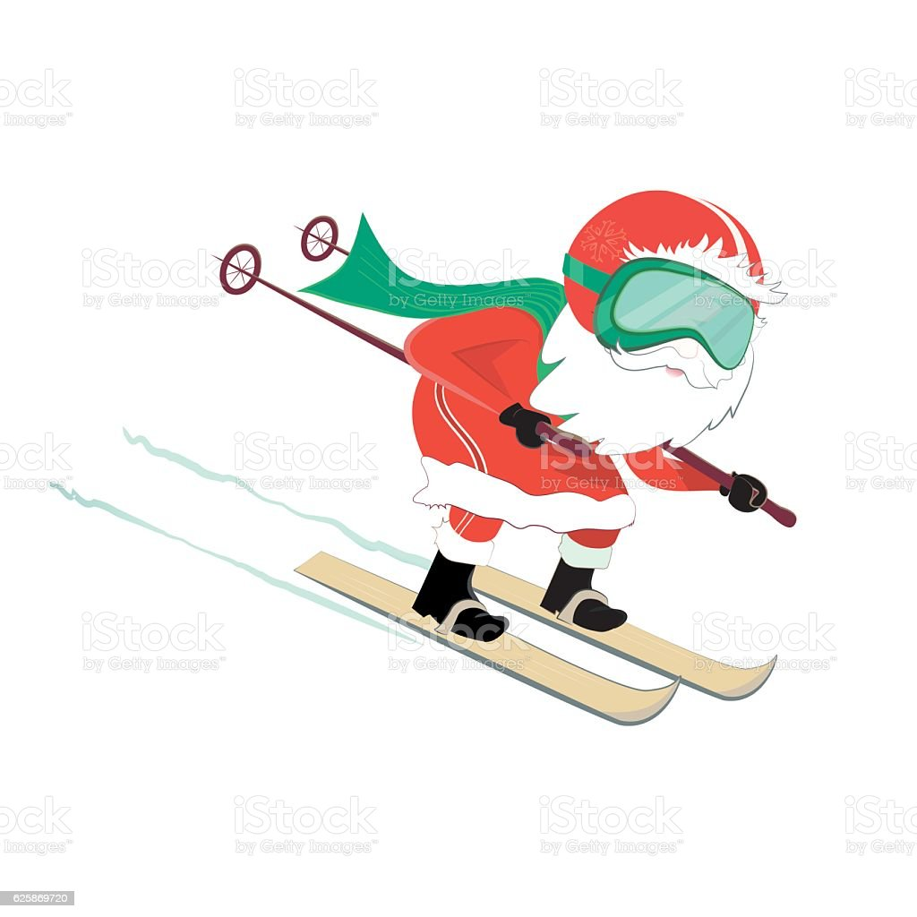 santa claus on ski going downhill vector art illustration