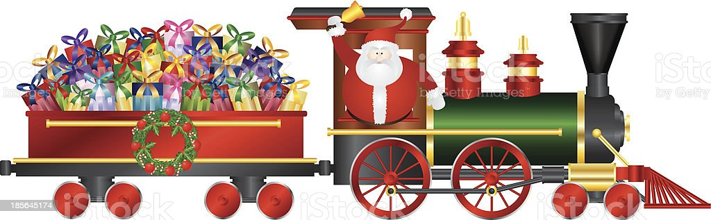 Santa Claus on Train Delivering Presents Vector Illustration royalty-free stock vector art