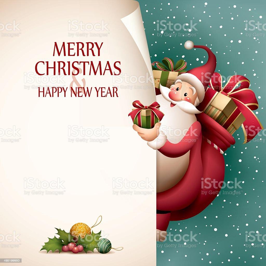 Santa Claus - page curl vector art illustration