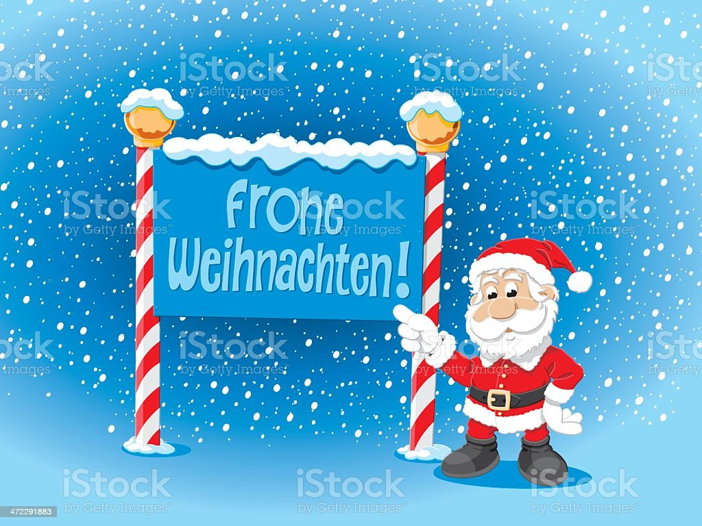 Santa Claus Pointing Frohe Weihnachten Sign Snow royalty-free stock vector art