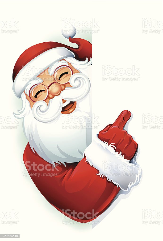 Santa Claus Pointing vector art illustration