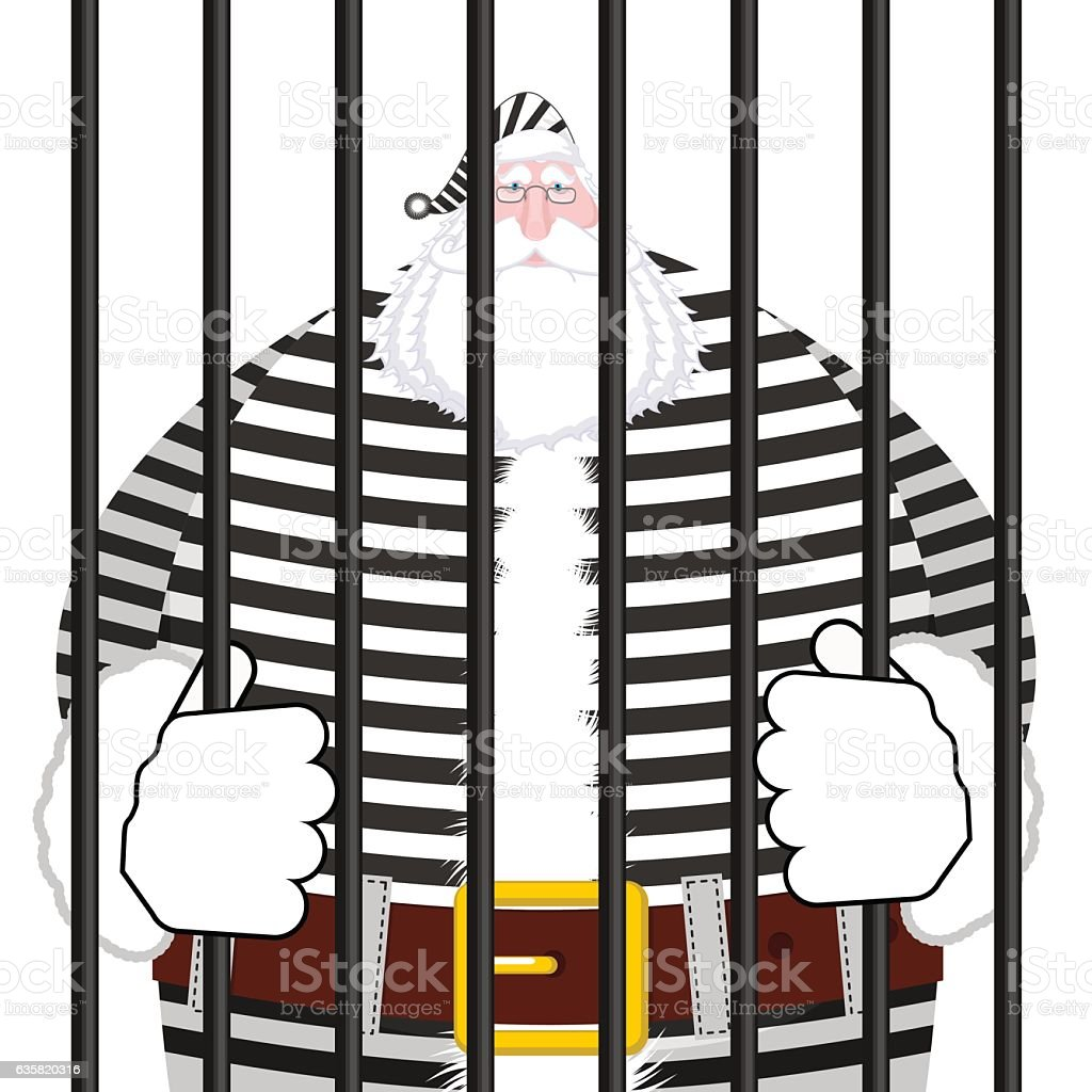 Santa Claus prison in striped robe. Window in prison with vector art illustration