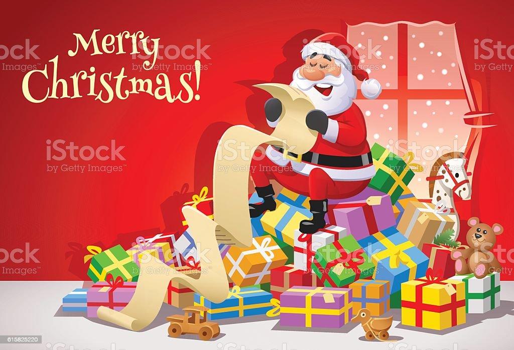 Santa Claus Reading A Long Wish List vector art illustration