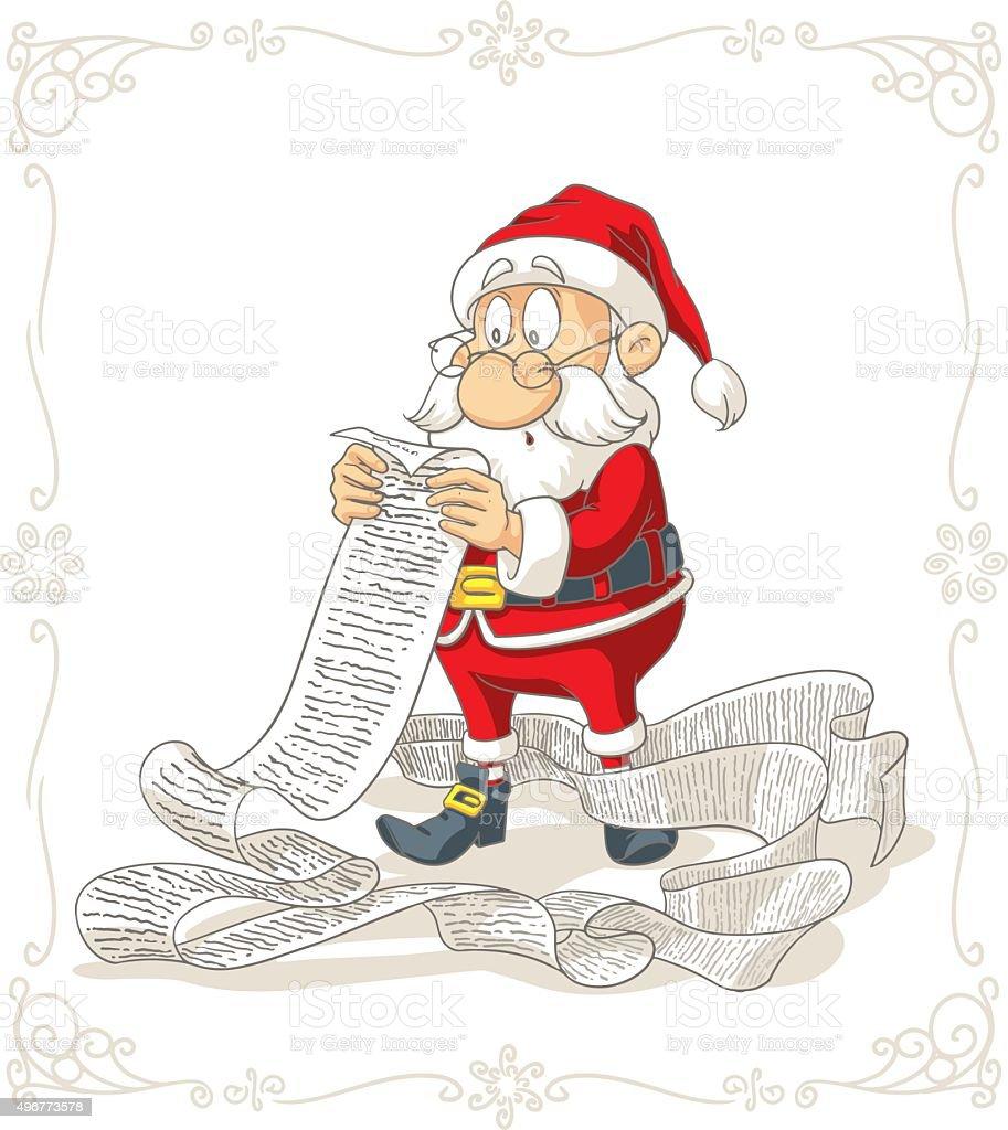 Santa Claus Reading Big Presents Wishlist Vector Cartoon vector art illustration