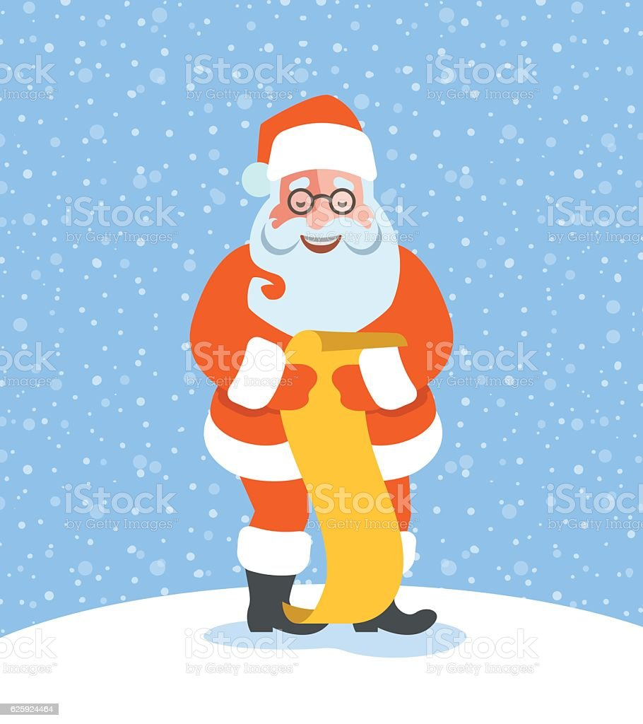 santa claus reads naughty or nice kids list stock vector art