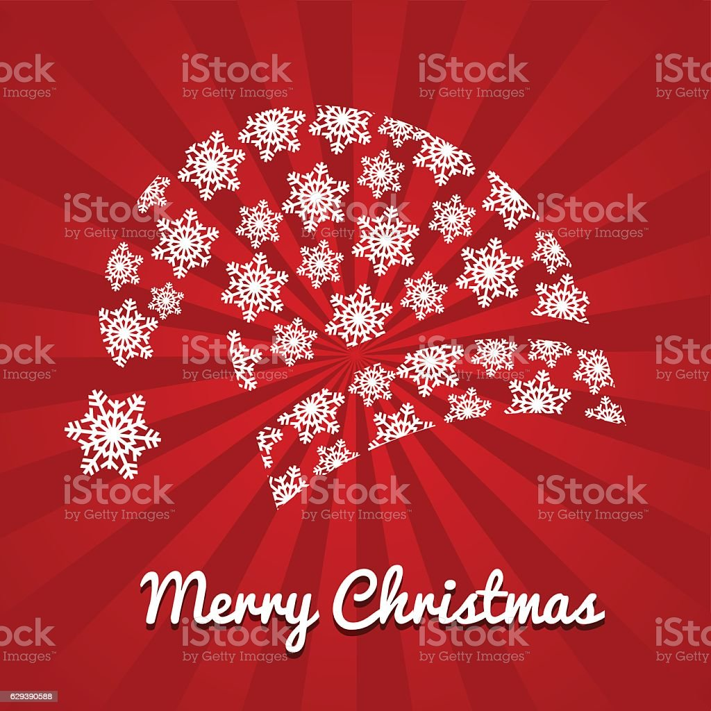 Santa Claus red christmas hat rays background vector art illustration