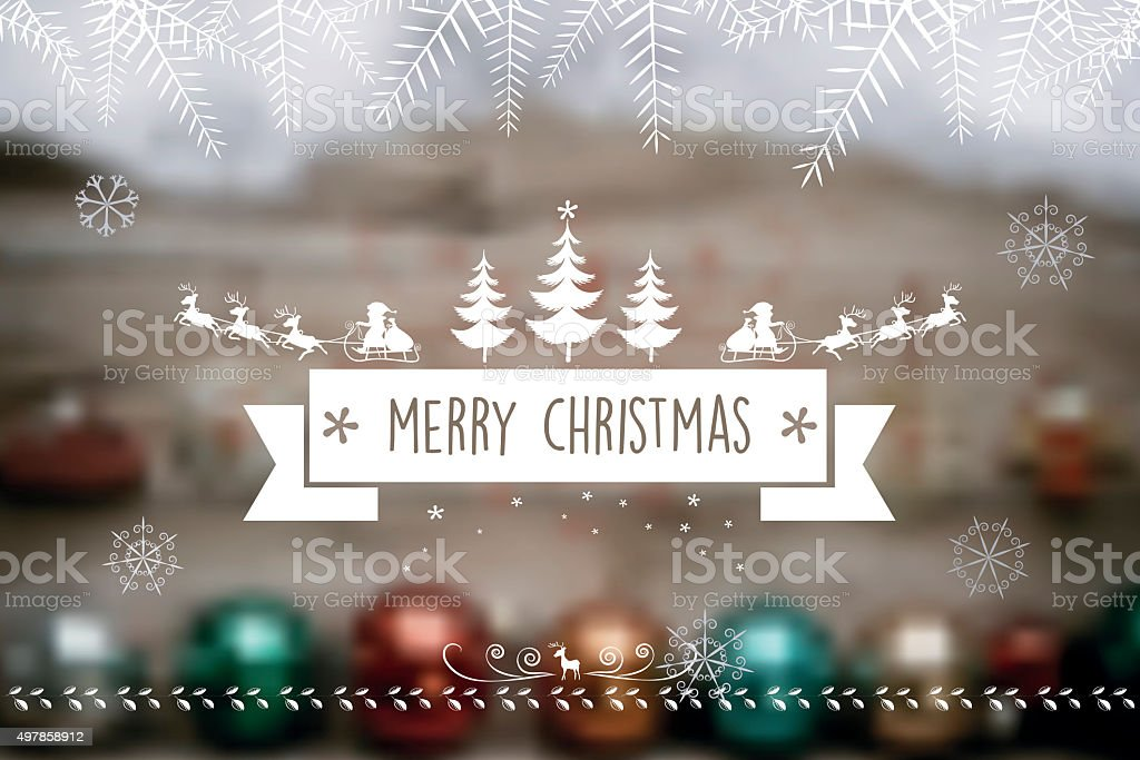 santa claus reindeer sleigh label on blurred  wooden background stock photo