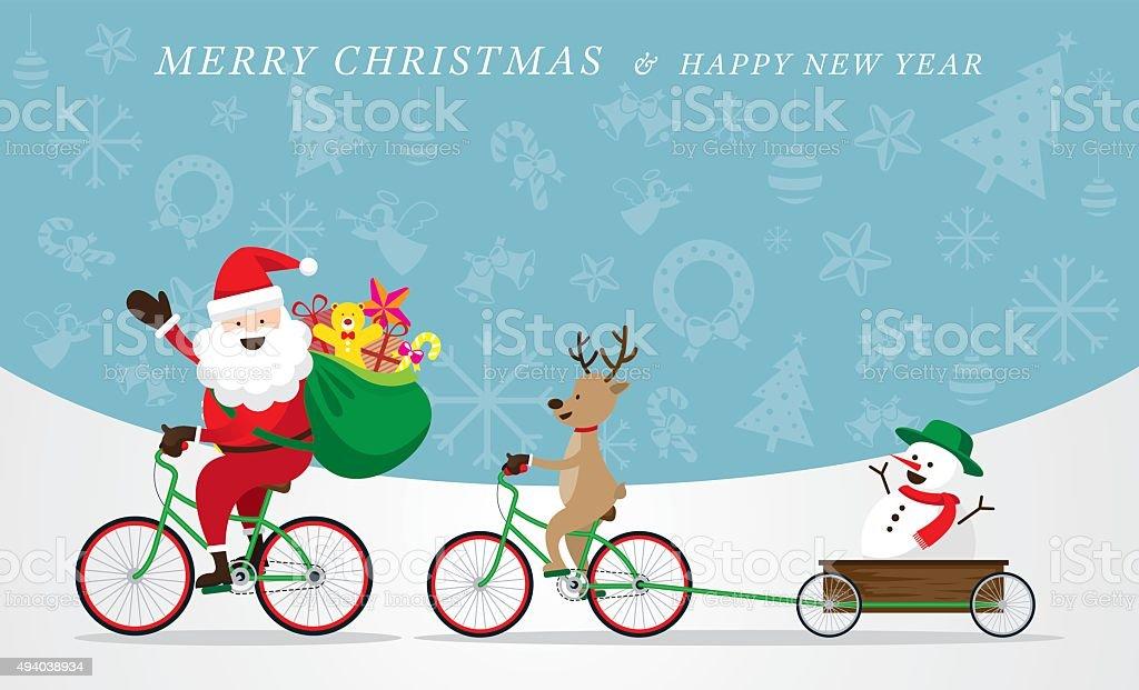 Santa Claus, Reindeer, Snowman Cycling Bicycles vector art illustration