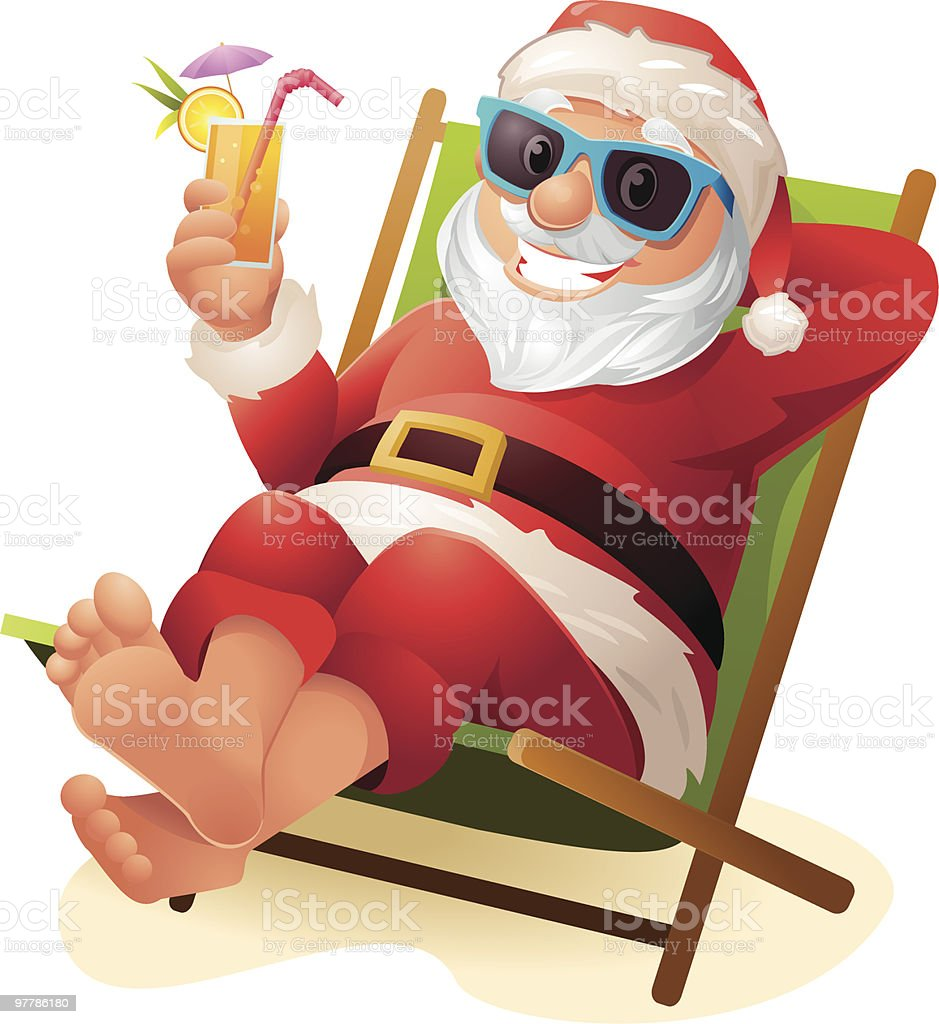 Santa Claus relaxing at Beach with Sunglasses and drink vector art illustration