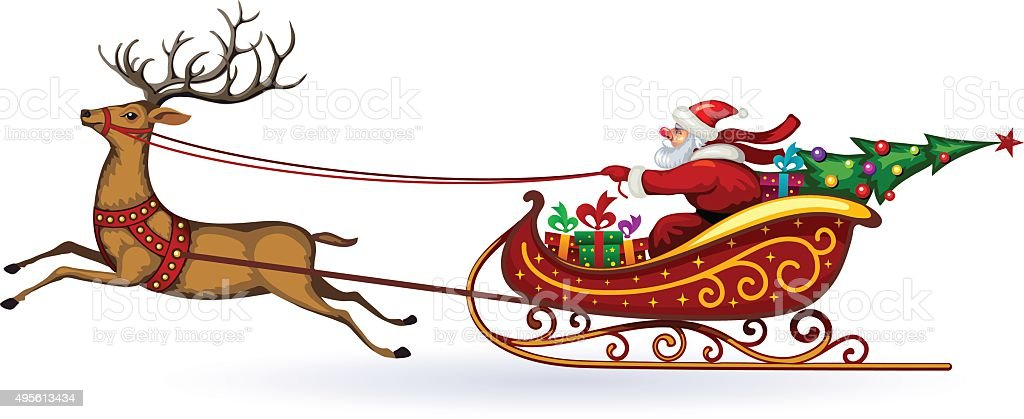 Santa Claus rides in a sleigh in harness on the reindeer vector art illustration